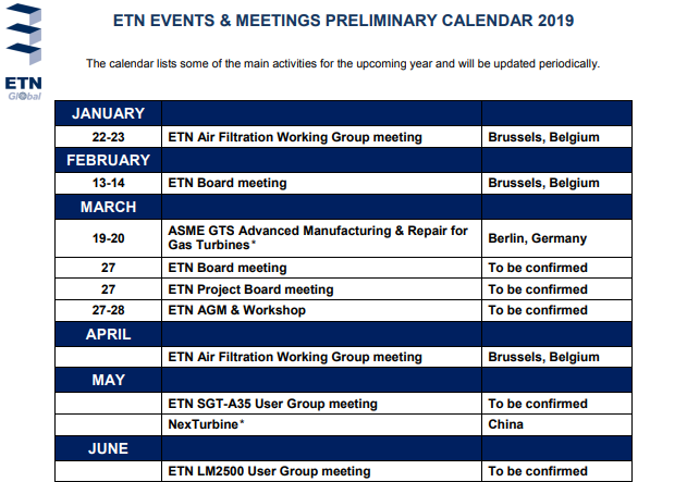 Etn Events Meetings Calendar 2019 Etn